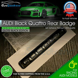 Audi Black Quattro Emblem 3d Badge Rear Liftgate Trunk Oem For A3 A4 A5 A6 Q5 Tt