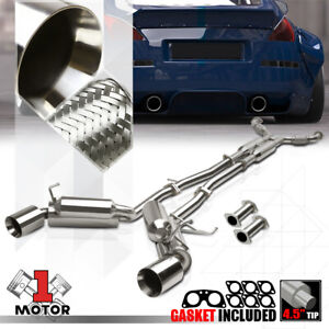 Dual Muffler 4 5 Beveled Edge Tip Catback Exhaust System For 03 09 350z g35 Z33