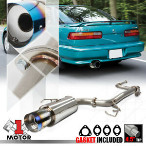Stainless Steel Catback Exhaust System 4 5 Burnt Tip For 90 93 Acura Integra