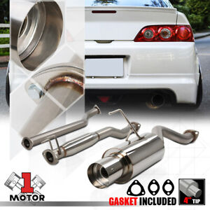 Stainless Steel Catback Exhaust System 4 Muffler Tip For 02 06 Acura Rsx Base