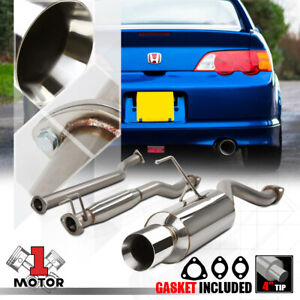 Stainless Steel Catback Exhaust System 4 Beveled Tip Muffler For 02 06 Rsx Base