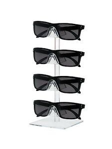 4 Tier Sunglasses Eyeglasses Organizer Square Counter Display Stand Clear Qty 6
