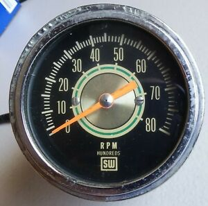 Stewart Warner 3 3 8 Green Line 8000 Rpm Tachometer Rat Rod Usa