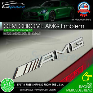 Amg Emblem Chrome Rear Trunk 3d Badge A C E S Cl Sl G Oem Pre 2015 Mercedes Benz