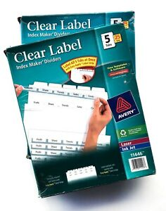 Avery 11446 Clear Index Maker 5 Tab Dividers 25 Sets 2 Boxes For 3 ring Binder