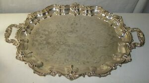 Large Heavy Silver Plate On Copper Footed Tray Poole Silver 3214 28 X18