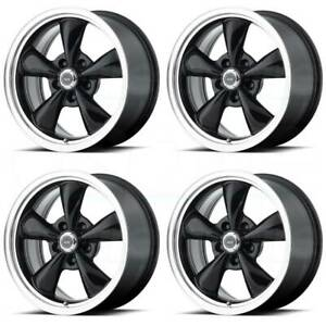 16x7 American Racing Ar105 Torq Thrust M 5x100 35 Black Lip Wheels Rims Set 4