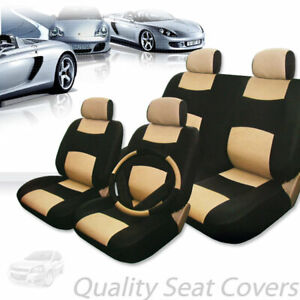 For Bmw Premium Black Tan Synthetic Leather Car Seat Steering Covers Set