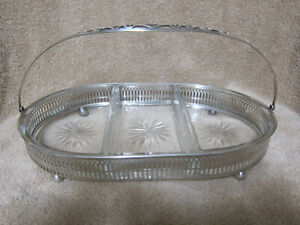 Webster Sterling Silver 3 Pc Star Pattern Cut Glass Condiment Tray With Handle
