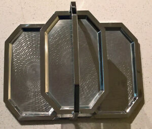 Chase Triple Tray 1930 S Art Deco Chrome Folding 3 Tier Serving Tray