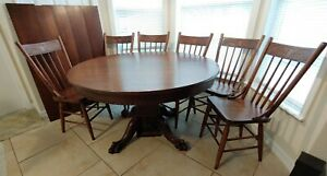 Victorian Round Claw Foot Split Base Dining Table 5 Leaves 6 Matching Chairs