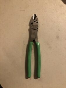 Snap on Terminal Crimping Pliers Cutters Crimper 9 3 8 29acf Green Vinyl Grip