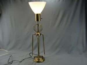 Vintage Mcm Atomic Space Age Brass Torchiere Style Table Lamp Glass Waffle Shade