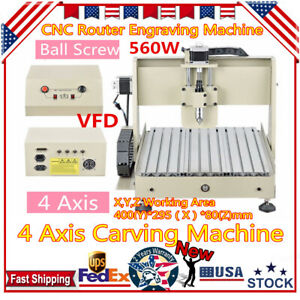 4 Axis Cnc 3040 Router Engraver Machine Wood Drill Mill Carving 3d Cutter 560w