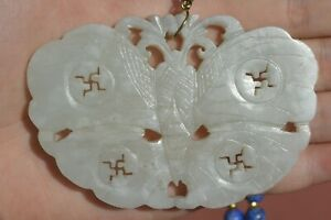 1900 S Chinese White Jade Carved Moth Pendant Plaque Lapis Lazuli Bead Necklace