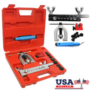 Double Flaring Brake Line Tool Kit With Mini Pipe Cutter For Car Truck Us Seller