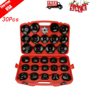 Auto Cup Type Oil Filter Cap Wrench Socket Removal Tool Set W case 30pcs New Us