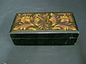Antique Vintage Hand Painted Black Lacquer Wooden Box Cigar Dresser Jewelry Box