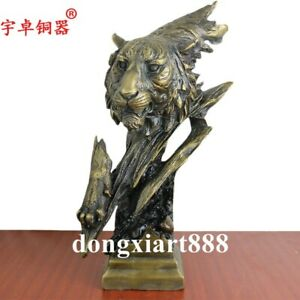 38 Cm China Pure Bronze Life Like Cheetah Leopard Panther Head Animal Sculpture