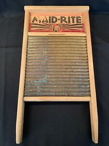 Vintage Maid Rite No 2062 Wash Board Columbus Washboard Co Family Size