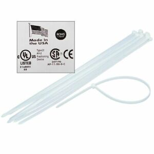 X large 48 Inch Natural white Heavy Duty Cable Zip Tie made In Usa 50 Pack