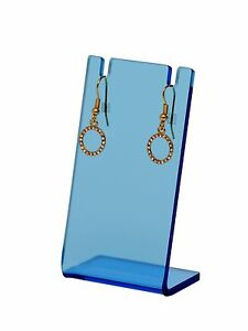 Earring Necklace Stand Jewelry Translucent Blue Display Holder Showcase Qty 24
