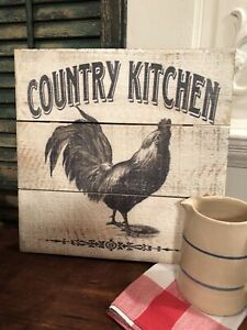 Primitive Barn Wood Style Coutry Kitchen Rooster Picture Black Farmhouse Decor