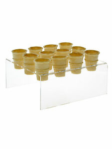 12 Slot Mini Ice Cream Cone Counter Top Holder Display Rack Clear Acrylic Qty 24