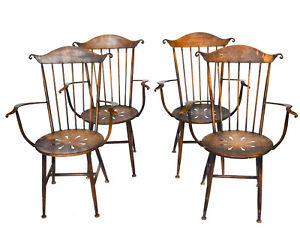 Set Four Wild Vintage All Metal Windsor Style Chairs Hand Crafted Fascinating