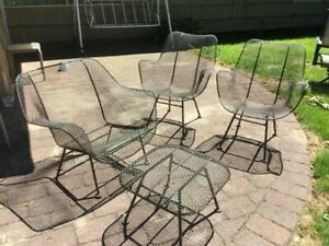 Vintage Original Mid Century Sculptura Russell Woodard Patio Chairs 6 Pieces