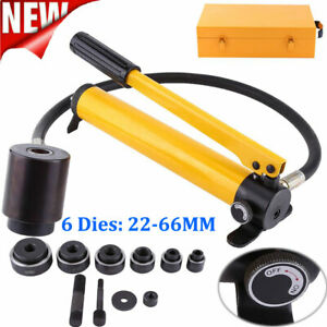 10 Ton 6 Die Hydraulic Knockout Punch Hand Pump Hole Tool Driver Kit 22 60mm