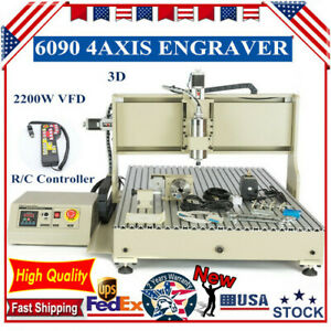 2200w Usb Cnc 6090t 4 Axis Router Engraver Wood Pvc Carving Milling Machine Rc