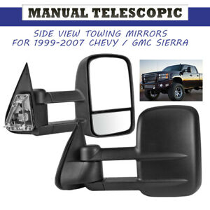 Manual Extend Textured Black Tow Mirrors Fit Chevy Gmc Silverado 1500 2500 99 07