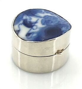 Chinese Pottery Sterling Silver Pill Trinket Box Or Snuff Box Vintage