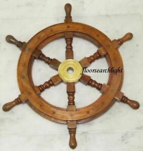 18 Captain S Wooden Ship Wheel Steering Pirate Vintage Brass Wooden Decor