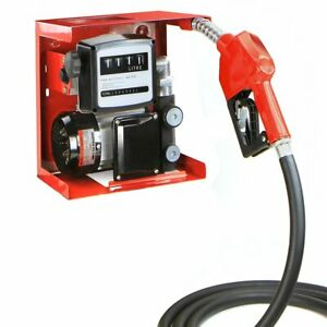 110v Electric Diesel Oil Fuel Transfer Pump W Meter With 13 Ft Hose Nozzle