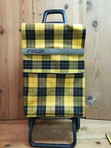 Rolser Shopping Trolley Bag Cart Wheeled Grocery Basket Yellow Wide