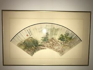 Vintage Antique Original Chinese Watercolor Fan Painting Framed Nr