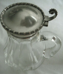 Sterling Silver Top With Panel Cut Glass Base Syrup Jug Or Pitcher