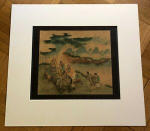 Antique Chinese Original Watercolor Painting On Silk 19 20th Century