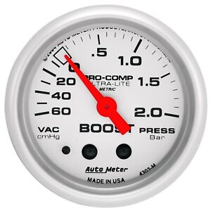 Autometer 4303 M Ultra Lite Mechanical Boost Vacuum Gauge W Silver Dial Face