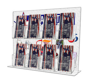 8 Pocket Vertical Business Card Holder Display Stand Counter Top Acrylic Qty 24