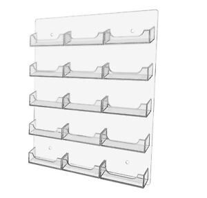 Business Gift Card Holder Wall Mount 15 Pocket Clear Acrylic Organizer Qty 6