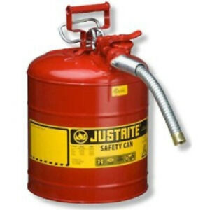 5 Gallon Fuel Safety Can Type 2 With Flexible Hose Galvanized Steel Gas Oil Red