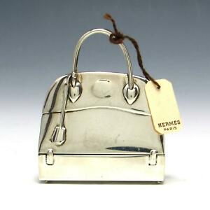 Vintage Hermes Sterling Silver Miniature Bolide Macpherson Bag Figural Pill Box