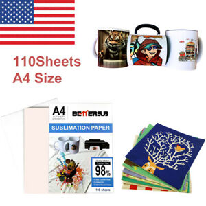 110 Sheets A4 Dye Iron On Heat Sublimation Transfer Paper For Inkjet T shirt Us