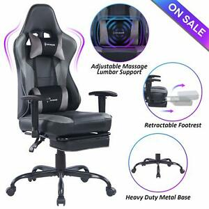 Von Racer Massage Gaming Chair high Back Racing Computer Desk Office Chair Gray