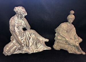 2 Atq Cast Metal Spelter Clock Toppers Spartan Soldier Trumpet Erato Muse Lyre