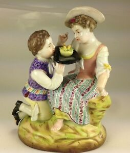 Antique Early Mark Sitzendorf Porcelain Figurine Young Lovers
