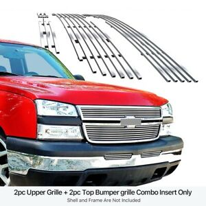 Fits 2006 Chevy Silverado 1500 05 06 2500hd Stainless Billet Grille Insert Combo